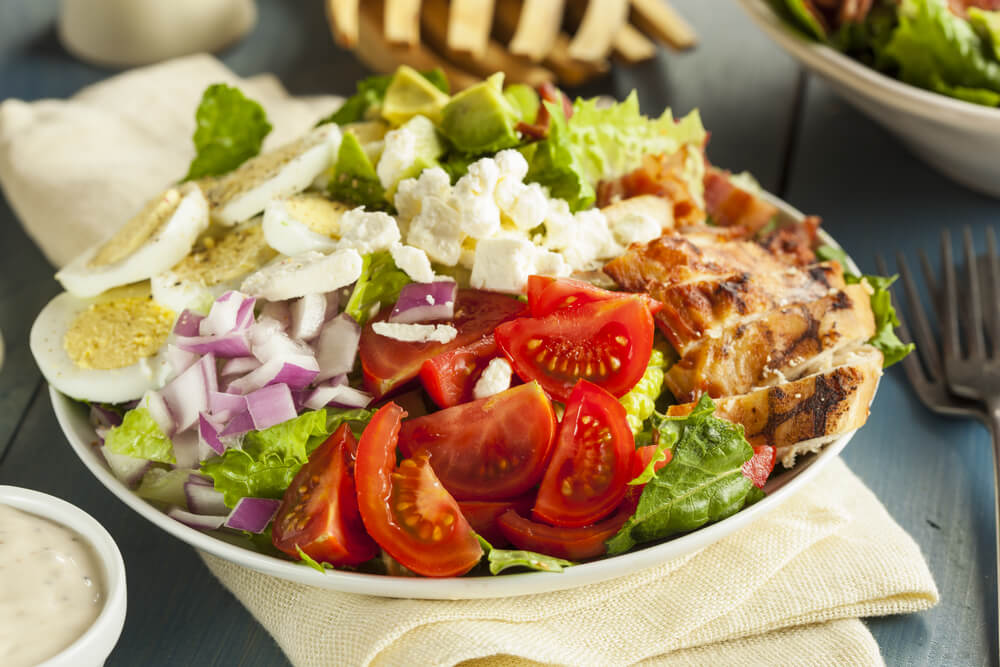 Pheasant Cobb Salad with Green Goddess Dressing