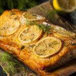 Cedar Plank Salmon with Lemon Mint Pesto