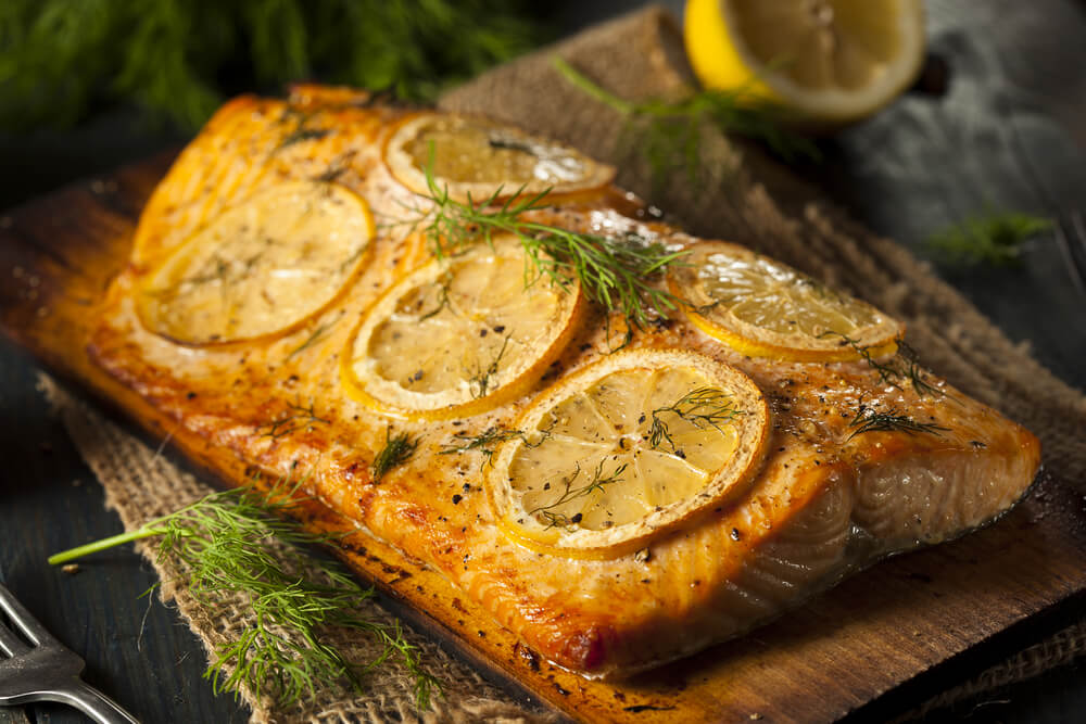 Cedar Plank Salmon with Lemon Mint Pesto