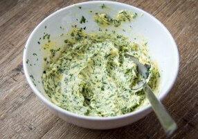 Herbs butter, sandwich with green homemade butter, delicious breakfast