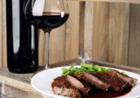 steak on plate with wine (1)